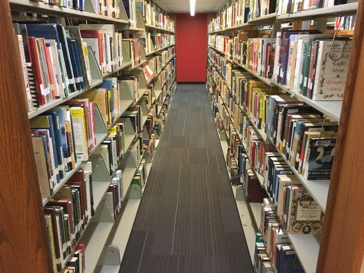 shelves in Bemis Public Library, Littleton, Colorado